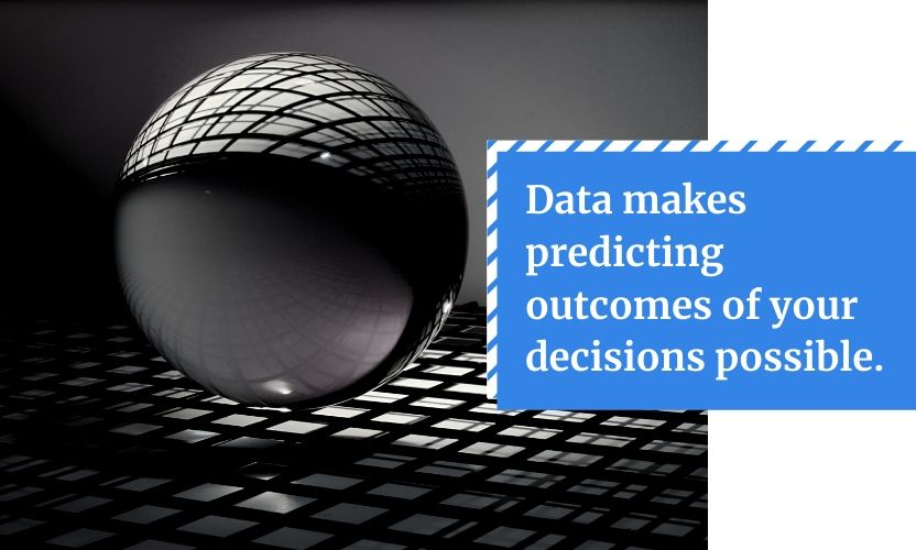 Don't make a big business mistake of being reactive - use data to predict outcomes of your decisions.