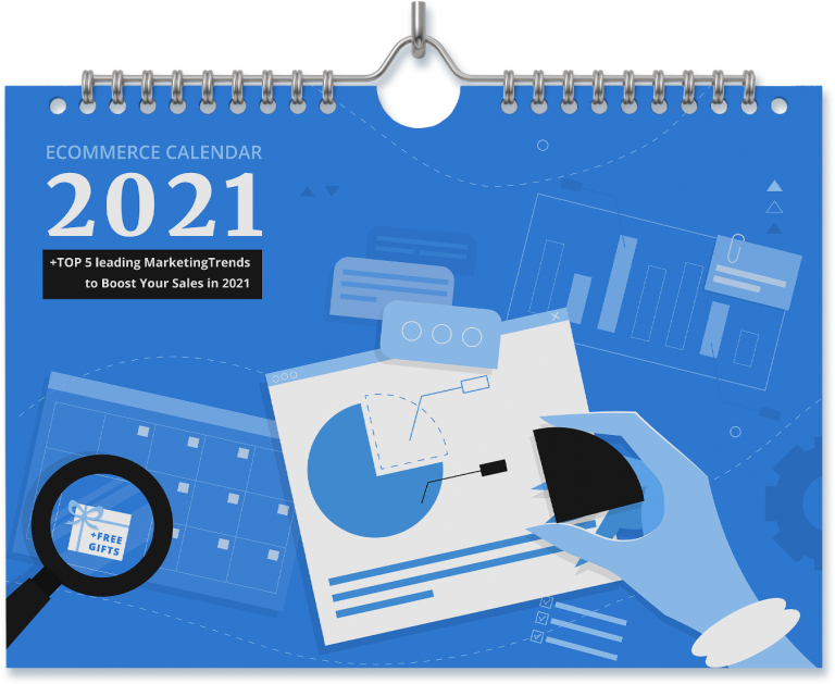 A 3D calendar cover with graphic elements of a hand organizing data, spy-glass checking days, and a title 2021 eCommerce Calendar