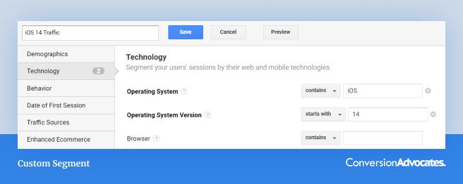 A screenshot of Google Analytics report showing a custom segment of ios 14 users.